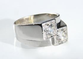Art Deco diamond two stone cocktail ring