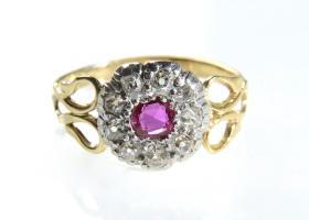 Antique ruby and diamond circular cluster ring in silver and gold