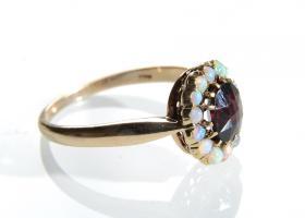 Antique German garnet and opal cluster ring in 14kt gold