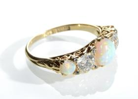 Victorian 18kt yellow gold opal and diamond carved ring
