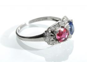 Art Deco ruby and sapphire two stone cluster ring