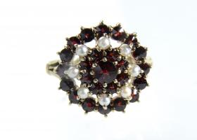 Antique German garnet and seed pearl cluster ring