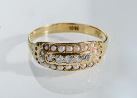 Antique diamond and pearl panel ring in 18kt gold