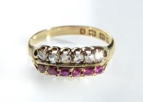 Victorian ruby and diamond double row ring in gold