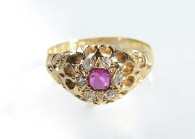 Victorian ruby and diamond coronet cluster ring