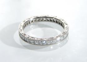 Platinum carre cut diamond full eternity ring