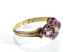 Victorian seed pearl and garnet quatrefoil ring in 15kt gold