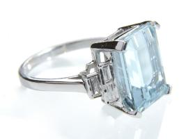 Art Deco style 5.00ct aquamarine and diamond step cut ring