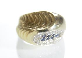 Retro sapphire and diamond cocktail ring in 18kt yellow gold