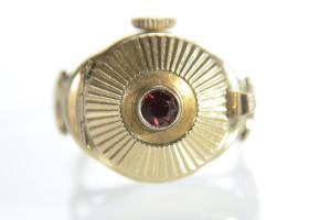 Vintage 9kt yellow gold watch ring with hinged lid