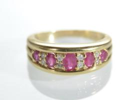 Vintage ruby and diamond five stone band in 18kt yellow gold.
