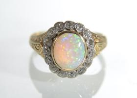 18kt yellow gold vintage opal and diamond coronet cluster ring