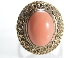1970s bohemian style coral dress ring in gold