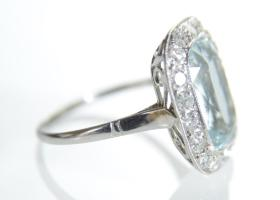 Art Deco cushion shape aquamarine and diamond cluster ring