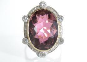 Edwardian reddish purple tourmaline and diamond cluster ring