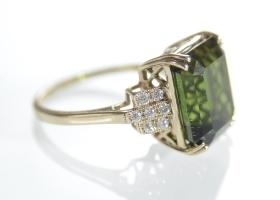 Vintage French Tourmaline and diamond cocktail ring in 18kt gold