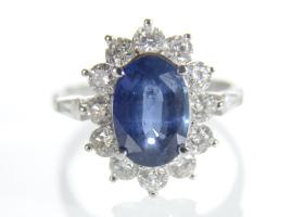 Vintage 3.10ct sapphire and diamond coronet cluster ring