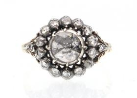 Georgian rose cut diamond cluster ring in silver and gold