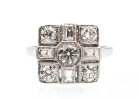 Art Deco diamond square cluster ring in platinum