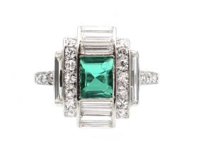 Art Deco Colombian emerald and diamond geometric cluster in platinum
