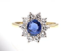 Vintage 18kt yellow gold sapphire and diamond cluster ring