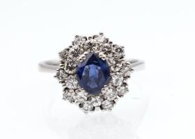 Retro 14kt white gold sapphire and diamond double row cluster ring