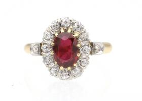 Edwardian ruby and diamond oval coronet cluster ring in gold
