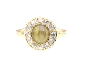 Victorian cat's eye chrysoberyl and diamond coronet cluster ring
