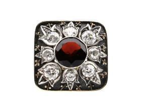 Antique Richter Von Berchem garnet and diamond dress ring