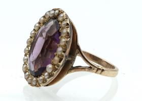 Antique amethyst and seed pearl oval cluster ring in yellow gold