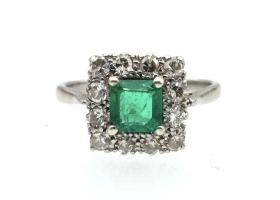 Art Deco emerald and diamond square cluster ring in platinum