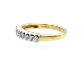 Vintage 18kt yellow gold diamond half eternity ring