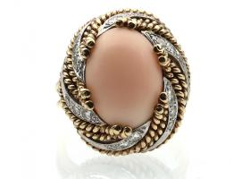 1960s angel skin coral and diamond swirl cocktail ring in yellow gold
