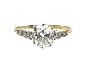 Antique 1.72ct cushion shape Old Mine diamond engagement ring