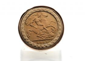 1905 half Sovereign coin ring in 9kt rose gold mount