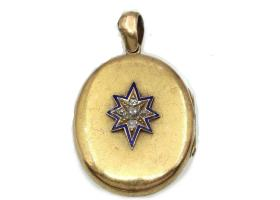 Victorian oval yellow gold locket with star motif, diamonds and blue enamel