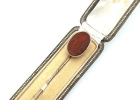 Antique oval carnelian Britannia intaglio stick pin in gold
