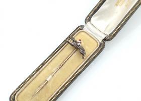 Antique diamond and enamel, horse and jockey stick pin