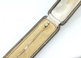 Antique diamond and opal stick pin in gold