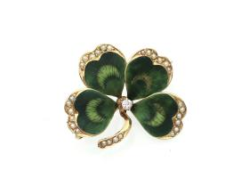 Vintage 14kt yellow gold and enamel four leaf clover pin