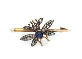 Antique French sapphire, diamond and pearl bug brooch