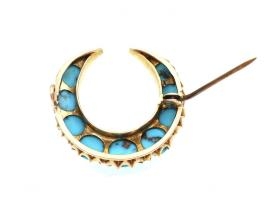 Victorian turquoise crescent moon brooch in gold