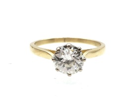 Vintage 1.12cts round Old European cut diamond solitaire in yellow gold