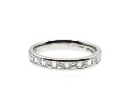 18kt white gold mixed step cut diamond half eternity ring