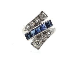 Art Deco sapphire and diamond twist ring in platinum