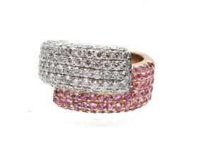 David Morris diamond and pink sapphire crossover ring