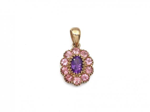 Amethyst and pink tourmaline floral cluster pendant in gold