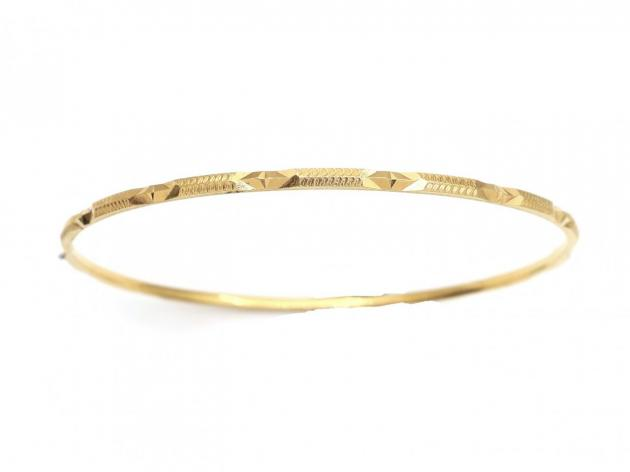 Antique 21kt engraved solid slave bangle