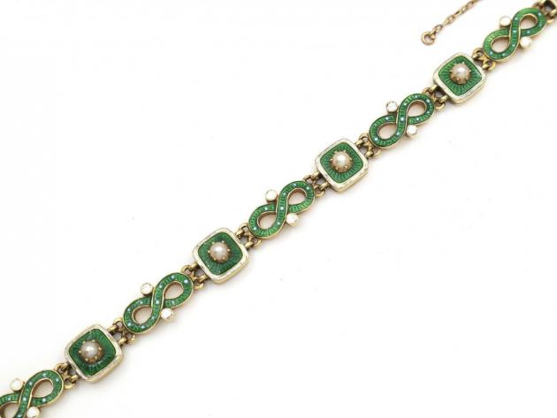 Antique seed pearl, green and white enamel 18kt yellow gold bracelet