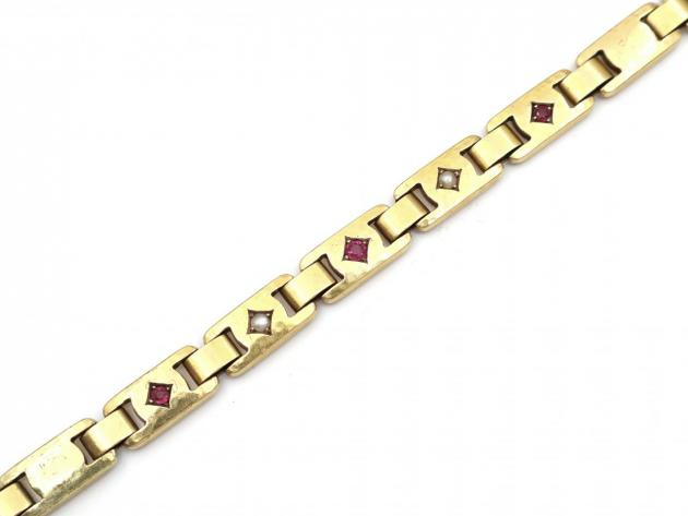 Victorian ruby and seed pearl hammered link yellow gold bracelet